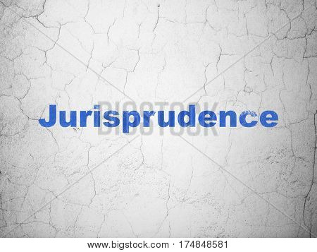 Law concept: Blue Jurisprudence on textured concrete wall background