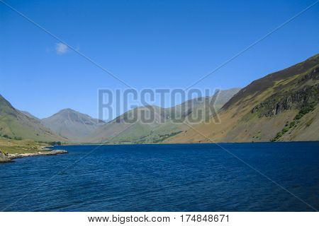 View over Wast Water with Great Gable Lingmell and Scafell Pike behind in the English Lake District