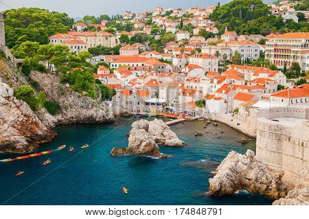 beautiful cozy view of the west harbor near the old town in Dubrovnik Croatia