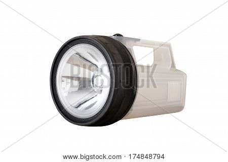 Flashlight with a large reflector close up on a white background. It is isolated the worker of paths is present