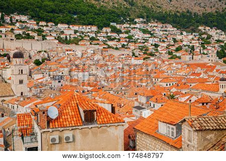 houses with red tiled roofs in the Old town of Dubrovnik Croatia