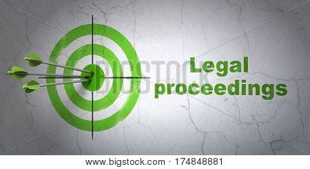 Success law concept: arrows hitting the center of target, Green Legal Proceedings on wall background, 3D rendering