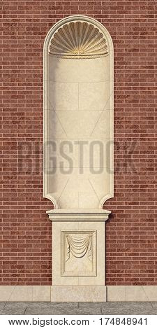 niche in the classic style with a vase on the wall of red brick. 3d rendering
