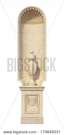 Niche in a classic style with a stone vase on a white background. 3d rendering
