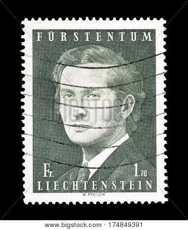 LIECHTENSTEIN - CIRCA 1974 : Cancelled postage stamp printed by Liechtenstein, that shows Prince Hans Adam.