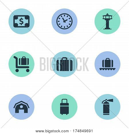 Vector Illustration Set Of Simple Travel Icons. Elements Baggage Cart, Travel Bag, Flight Control Tower And Other Synonyms Watch, Control And Conveyor.