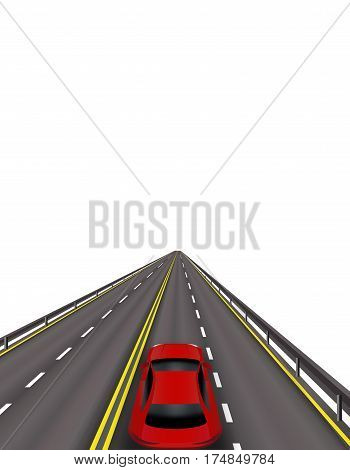 High-speed highway. Red cars on the road. In perspective. Isolated on white background. Vector illustration