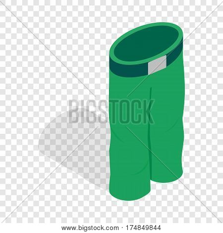 Green ski trousers isometric icon 3d on a transparent background vector illustration