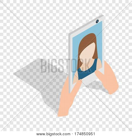 Girl taking selfie photo on smartphone isometric icon 3d on a transparent background vector illustration