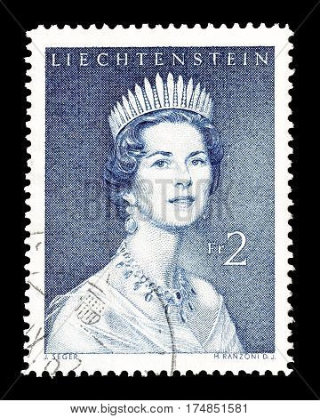 LIECHTENSTEIN - CIRCA 1960 : Cancelled postage stamp printed by Liechtenstein, that shows Gina Von Liechtenstein.