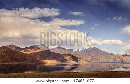 Western Himalayas are reflecting in Pangong Tso Lake on China-India border