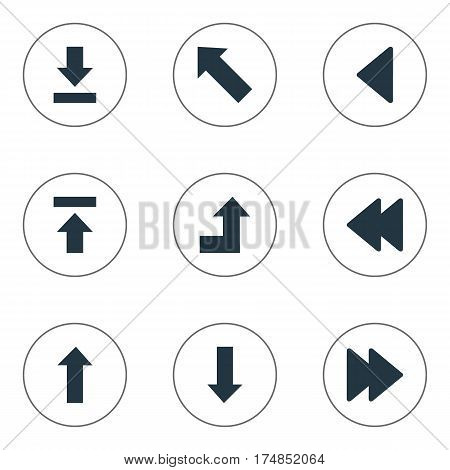 Vector Illustration Set Of Simple Cursor Icons. Elements Rearward, Upward Direction, Transfer And Other Synonyms Upload, Ahead And Rearward.