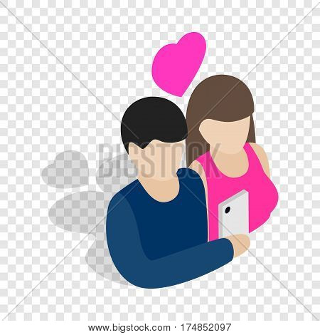Couple in love taking selfie together isometric icon 3d on a transparent background vector illustration