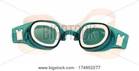 green goggles for swimming isolated on white background