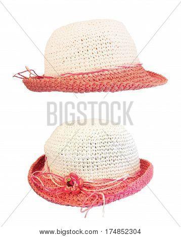 set summer straw hat isolated on white background