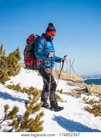 Climber In The Mountains In Winter.