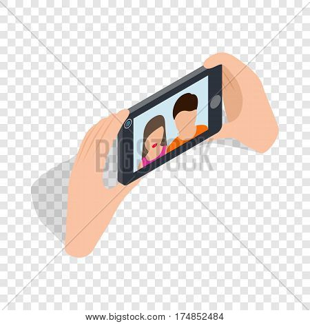 Couple taking selfy of themselves isometric icon 3d on a transparent background vector illustration