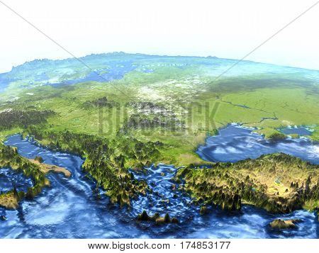 Turkey And Black Sea Region On Earth - Visible Ocean Floor