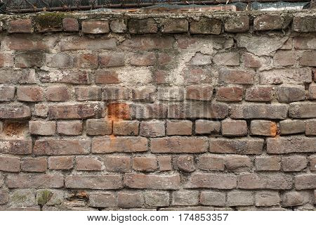 Part of old cracked brick wall as backgeound
