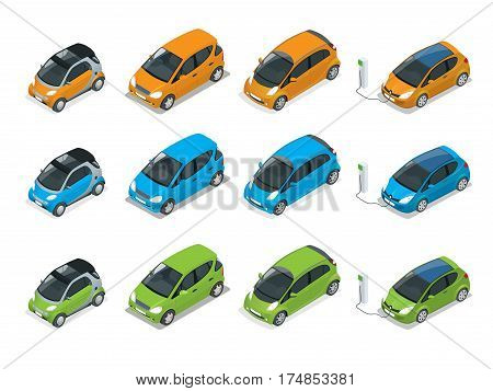 Isometric Hybrid, Electric and Mini Cars. City cars isolated on white background. Flat 3d Vector compact smart car. Vehicles isolated