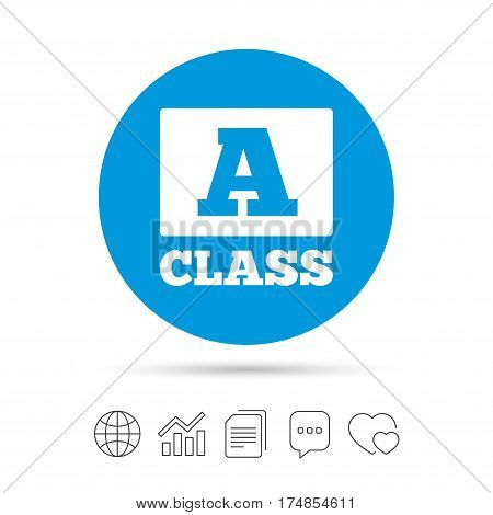 A-class icon. Premium level symbol. Energy efficiency sign. Copy files, chat speech bubble and chart web icons. Vector