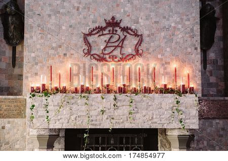 Wedding decoration, coat of arms with the initials of the fiance and fiancee in the castle of love