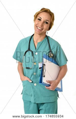 corporate portrait of beautiful and happy woman md emergency doctor or nurse posing smiling cheerful with stethoscope in health care and hospital clinic work staff concept isolated background