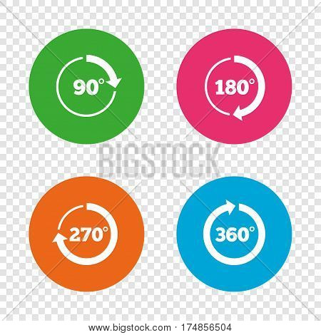 Angle 45-360 degrees circle icons. Geometry math signs symbols. Full complete rotation arrow. Round buttons on transparent background. Vector