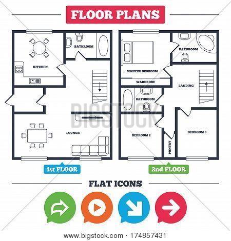 Architecture plan with furniture. House floor plan. Arrow icons. Next navigation arrowhead signs. Direction symbols. Kitchen, lounge and bathroom. Vector