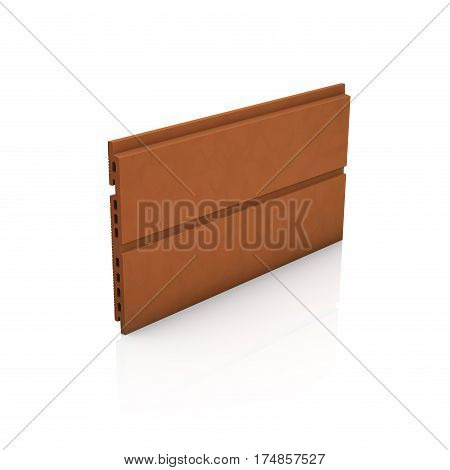 3d rendering of terracotta panel for ventilated facade cladding isolated on white background with ground reflection