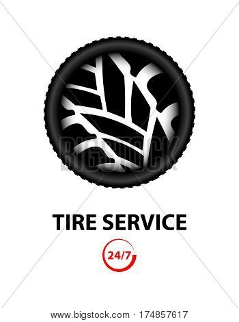 tire shop and service background, vector design