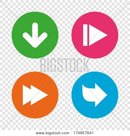 Arrow icons. Next navigation arrowhead signs. Direction symbols. Round buttons on transparent background. Vector