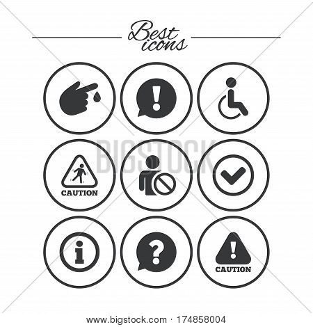 Caution and attention icons. Question mark and information signs. Injury and disabled person symbols. Classic simple flat icons. Vector