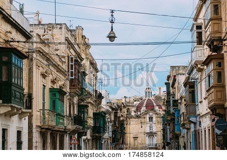 Street Of Cospicua And Side View To Immaculate Conception Church