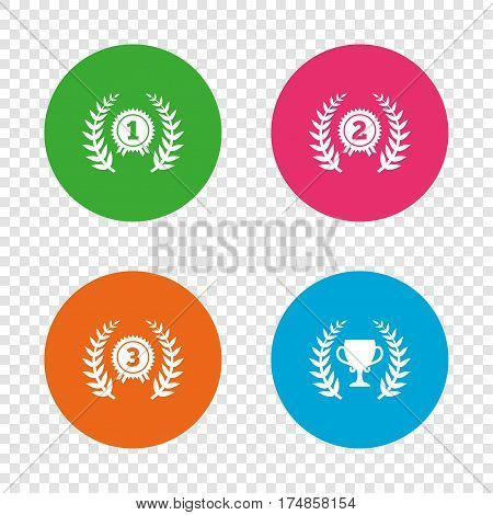 Laurel wreath award icons. Prize cup for winner signs. First, second and third place medals symbols. Round buttons on transparent background. Vector