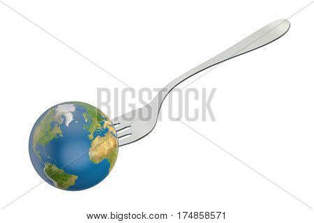 Earth globe with fork. International cuisine concept 3D rendering isolated on white background