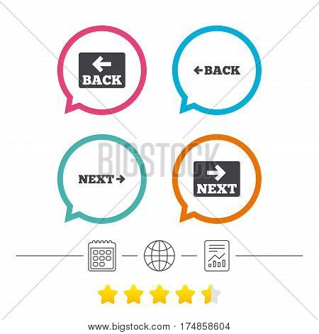 Back and next navigation signs. Arrow direction icons. Calendar, internet globe and report linear icons. Star vote ranking. Vector