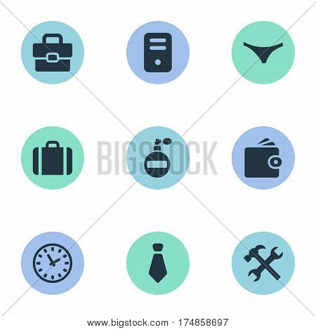 Vector Illustration Set Of Simple Instrument Icons. Elements Underwear, Briefcase, Cravat And Other Synonyms Case, Billfold And Work.
