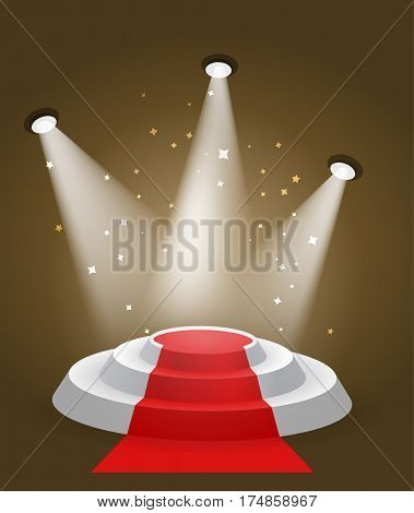 Round stairs silver pedestal with bright backlight and sparkles around color vector illustration