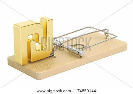 mousetrap with symbol of shekel 3D rendering isolated on white background