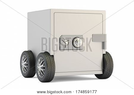 Safe box on car wheels 3D rendering isolated on white background