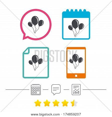 Balloon sign icon. Birthday air balloon with rope or ribbon symbol. Calendar, chat speech bubble and report linear icons. Star vote ranking. Vector