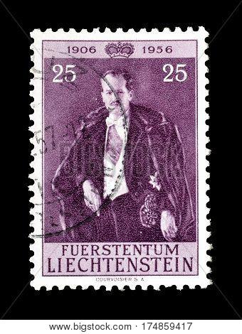 LIECHTENSTEIN - CIRCA 1956 : Cancelled postage stamp printed by Liechtenstein, that shows Franz Josef.