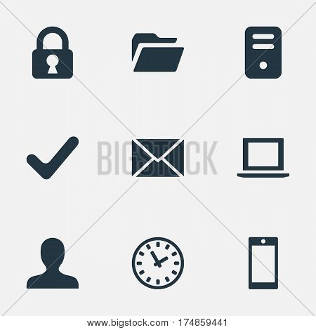 Vector Illustration Set Of Simple Application Icons. Elements Smartphone, Message, Dossier And Other Synonyms Folder, Check And Profile.