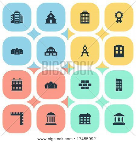 Vector Illustration Set Of Simple Structure Icons. Elements Engineer Tool, Shelter, Popish And Other Synonyms Length, Construction And Academy.