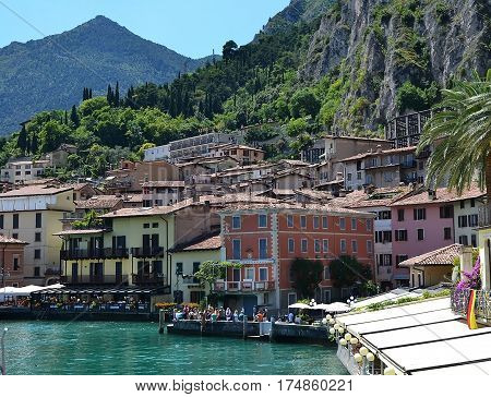 Lake Garda view of the embankment of Limone sul Garda Italy