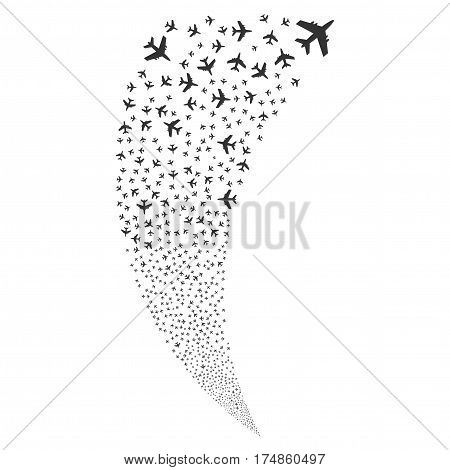 Jet Plane random fireworks stream. Vector illustration style is flat gray iconic symbols on a white background. Object fountain combined from scattered symbols.