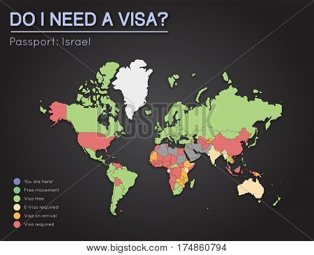 Visas Information For State Of Israel Passport Holders. Year 2017. World Map Infographics Showing Vi