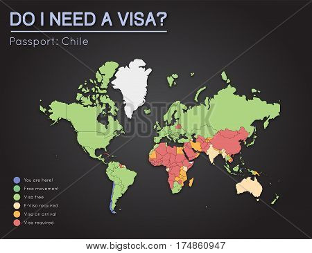Visas Information For Republic Of Chile Passport Holders. Year 2017. World Map Infographics Showing