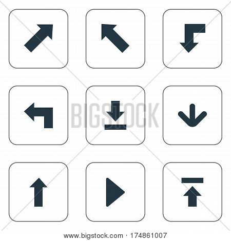 Vector Illustration Set Of Simple Pointer Icons. Elements Right Landmark, Pointer , Indicator Synonyms Pointing, Upload And Download.